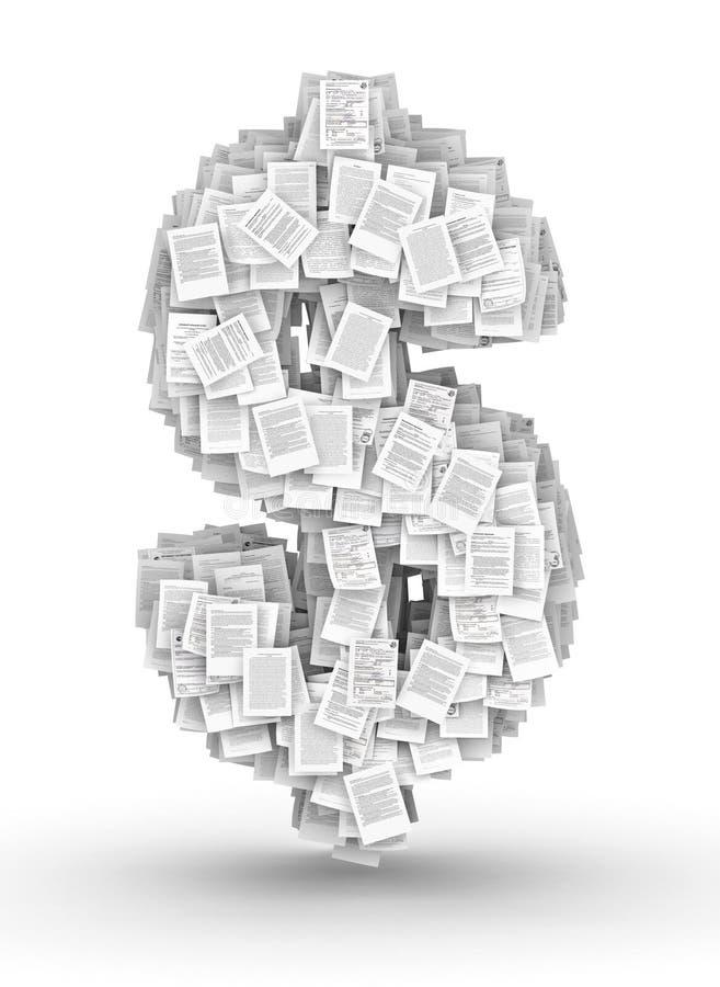Знак доллара, купель документов страницы иллюстрация штока