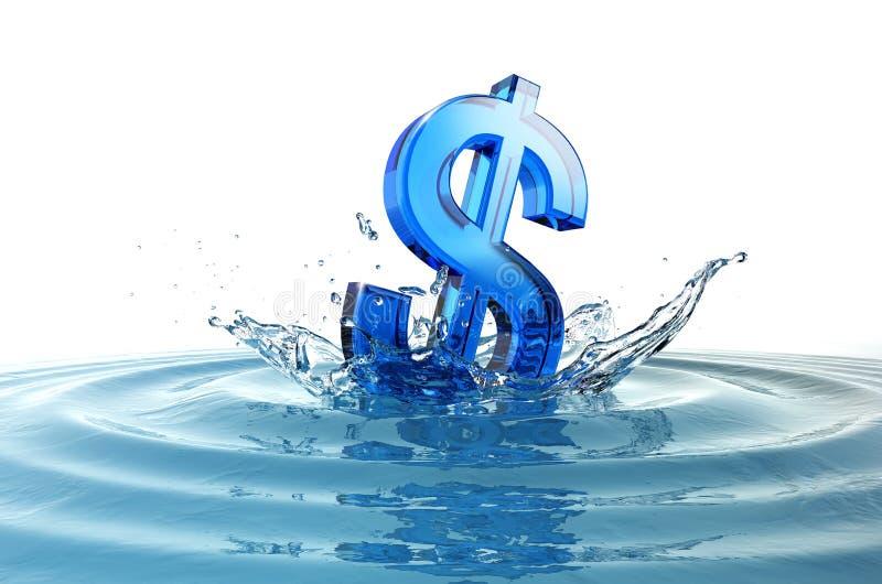 знак доллара падая брызгает нас вода иллюстрация штока