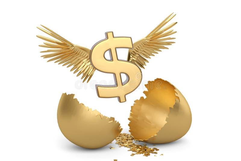 Знак доллара с крылами и золотом пролома egg иллюстрация 3d иллюстрация вектора