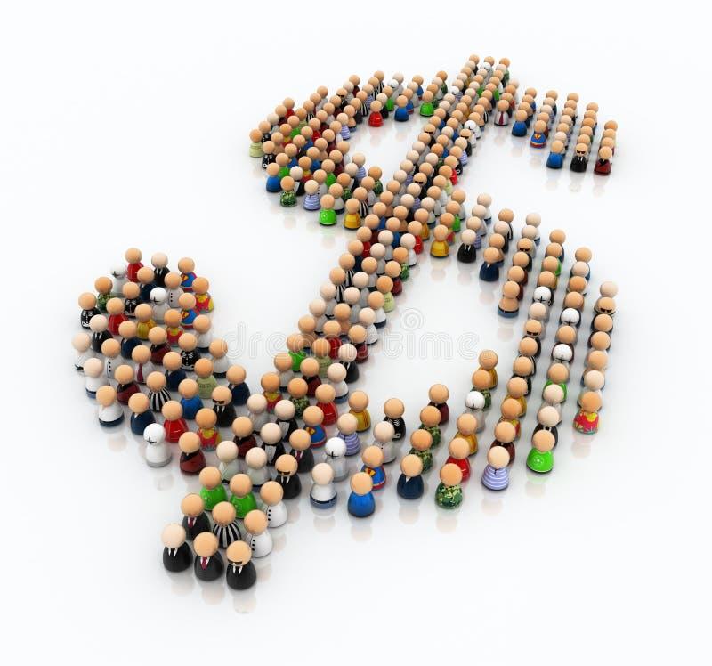 знак доллара толпы шаржа бесплатная иллюстрация
