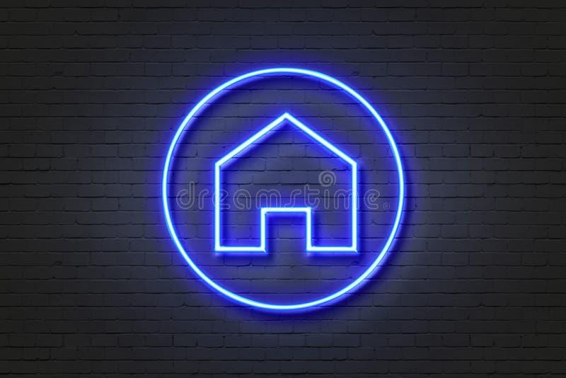 Знак дома значка неонового света стоковые фотографии rf