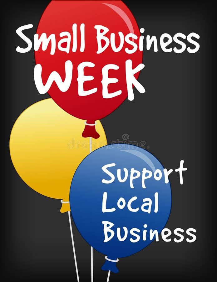 Знак доски мела недели мелкого бизнеса, воздушные шары иллюстрация вектора