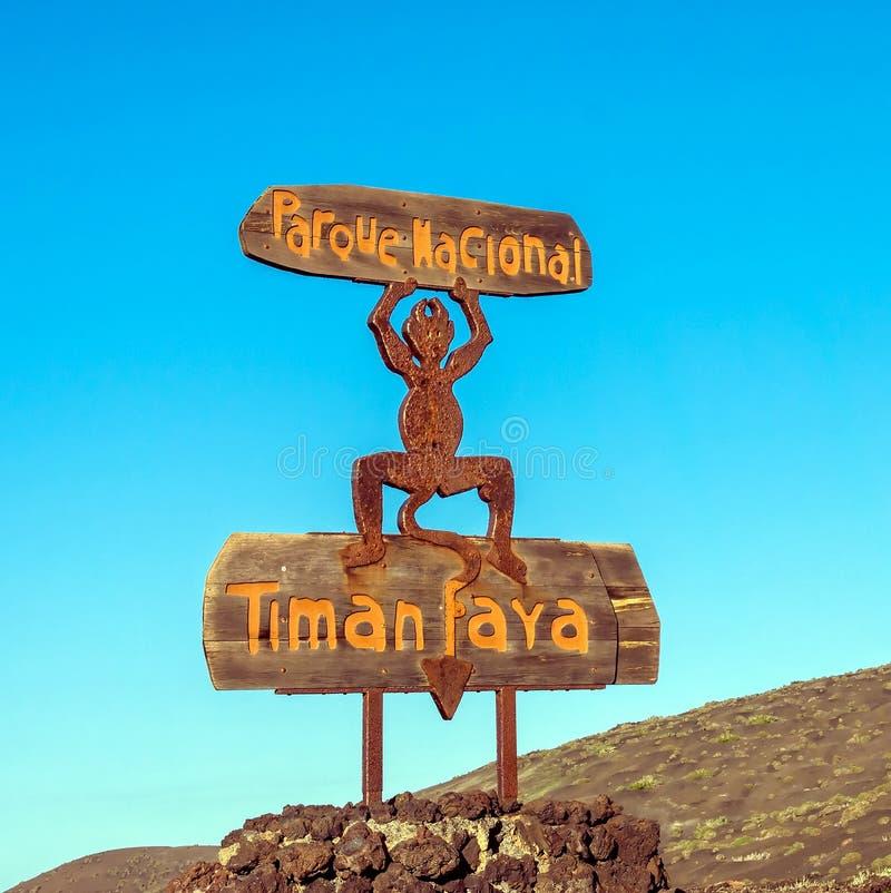 Знак дьявола национального парка Лансароте Timanfaya стоковая фотография