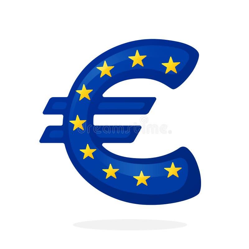 Знак евро в цветах национального флага иллюстрация штока