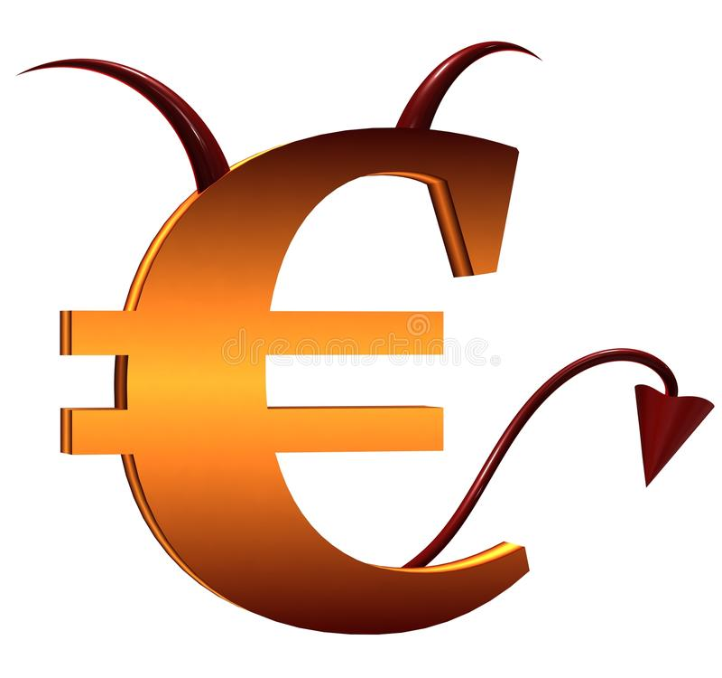 знак евро дьявола иллюстрация вектора