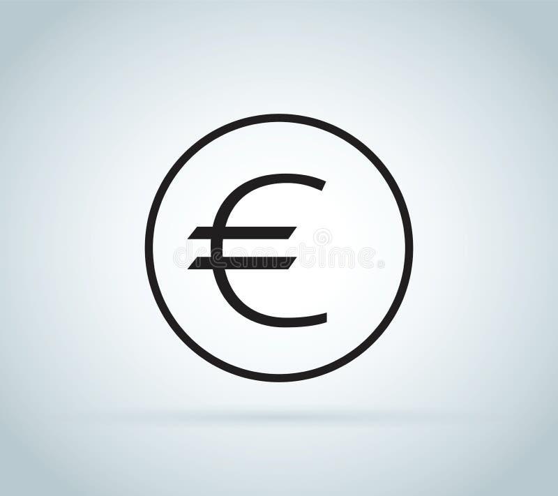Знак евро, монетка изолированная на белой предпосылке Деньги, значок валюты Символ наличных денег Дело, концепция экономики бесплатная иллюстрация