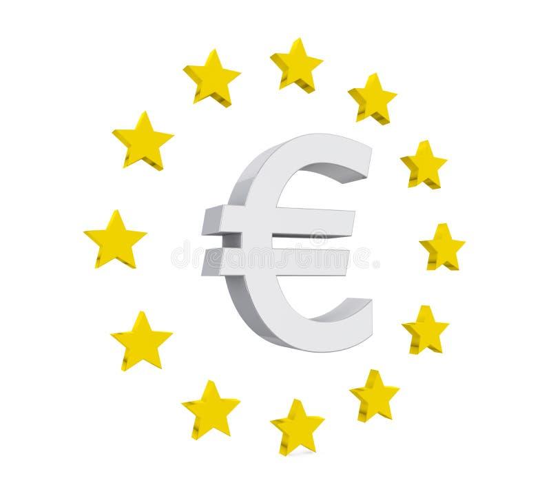 Знак евро при изолированные звезды иллюстрация штока
