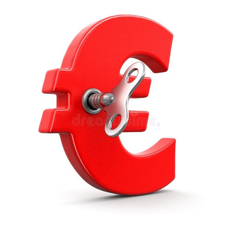 Знак евро с ключом замотки бесплатная иллюстрация