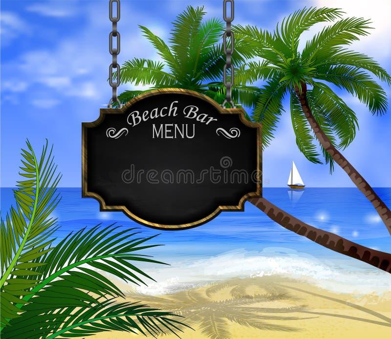Знак лета деревянный на тропической предпосылке пляжа бесплатная иллюстрация