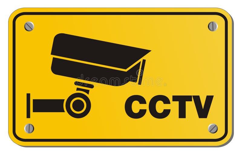 Знак желтого цвета CCTV - знак прямоугольника иллюстрация вектора