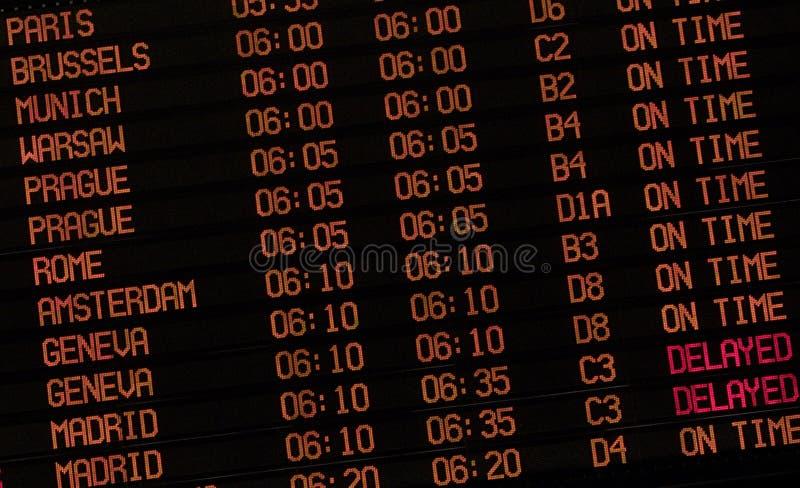 знак задержки авиапорта стоковое изображение