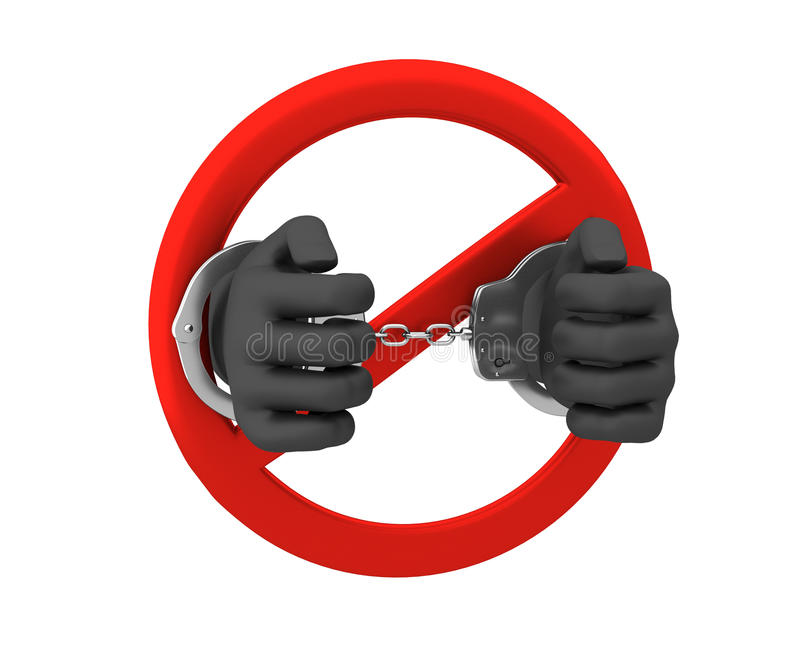 Знак запрета - злодеяния 3d представляют Изолировано на белизне иллюстрация вектора