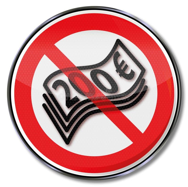 Знак запрета для 200 примечаний евро иллюстрация вектора