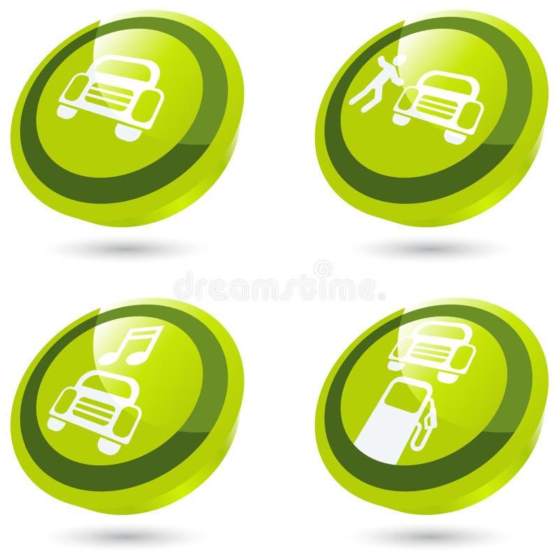 знак зеленого цвета автомобиля 3d иллюстрация штока
