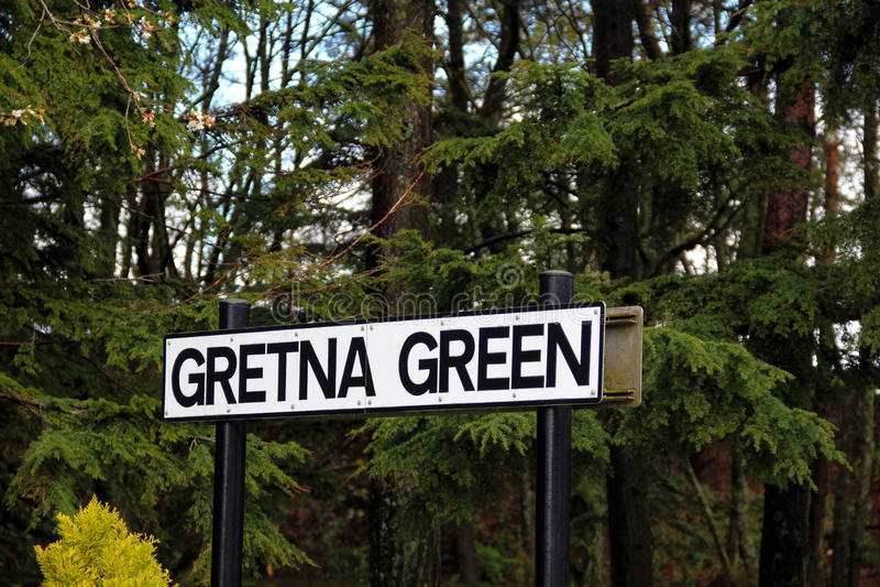 Знак зеленого цвета Gretna стоковое фото
