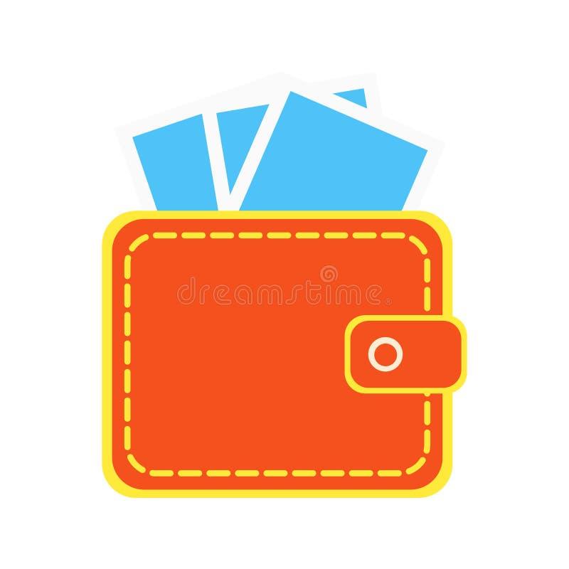 Знак значка бумажника с наличными деньгами бумажных денег внутри плоской иллюстрации вектора дизайна стиля иллюстрация штока
