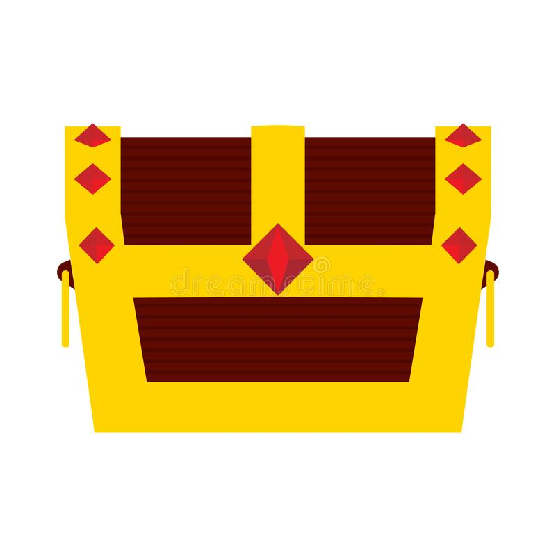 Знак значка вектора сокровища объекта комода коробки богатый Символ пирата сияющего золота деревянный Вид спереди ювелирных издел иллюстрация штока