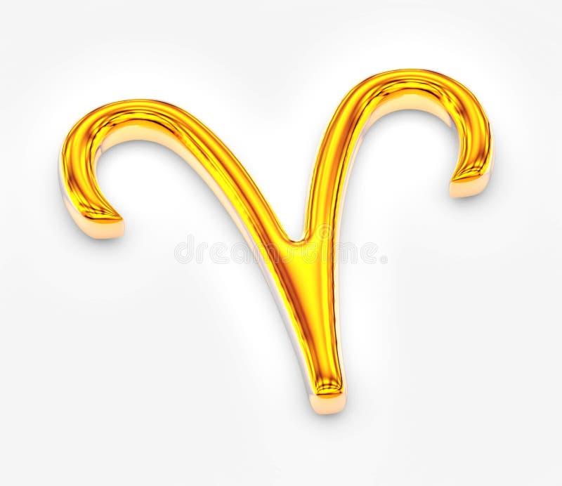 Знак зодиака в золоте на белой предпосылке - Aries иллюстрация вектора