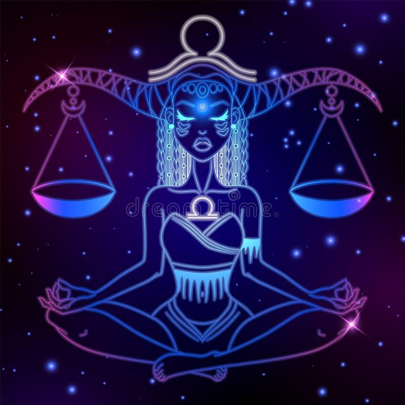 Знак зодиака Libra, символ гороскопа, иллюстрация вектора иллюстрация вектора
