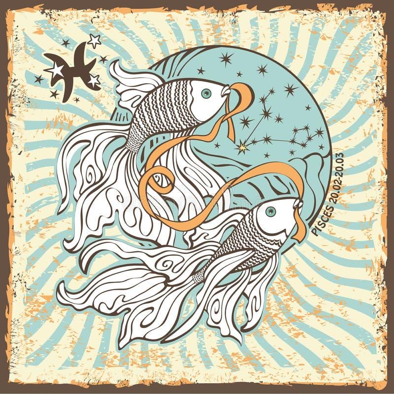 Знак зодиака Pisces Винтажная карточка гороскопа