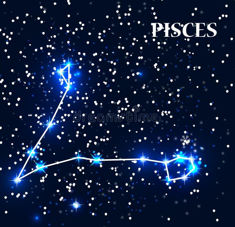 Знак зодиака Pisces символа также вектор иллюстрации притяжки corel иллюстрация штока