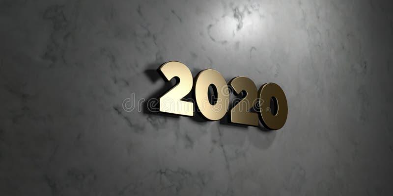 2020 - Знак золота установленный на лоснистой мраморной стене - 3D представило иллюстрацию неизрасходованного запаса королевской  иллюстрация вектора