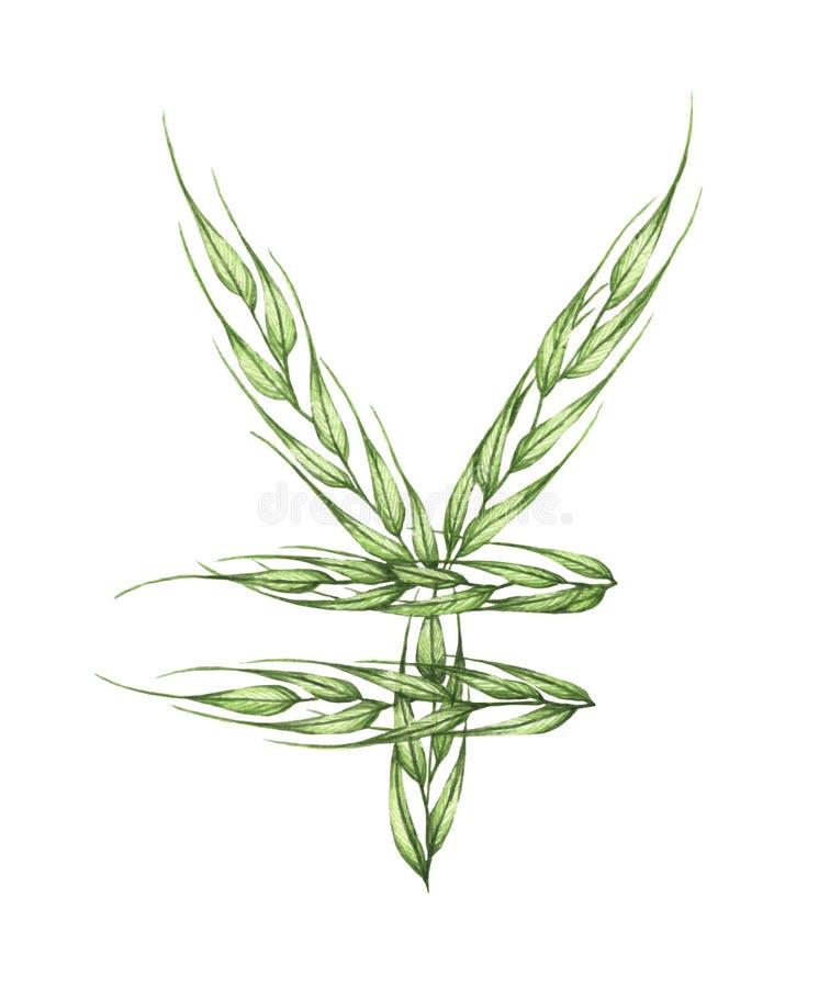 Знак иен, алфавит зеленых листьев E бесплатная иллюстрация