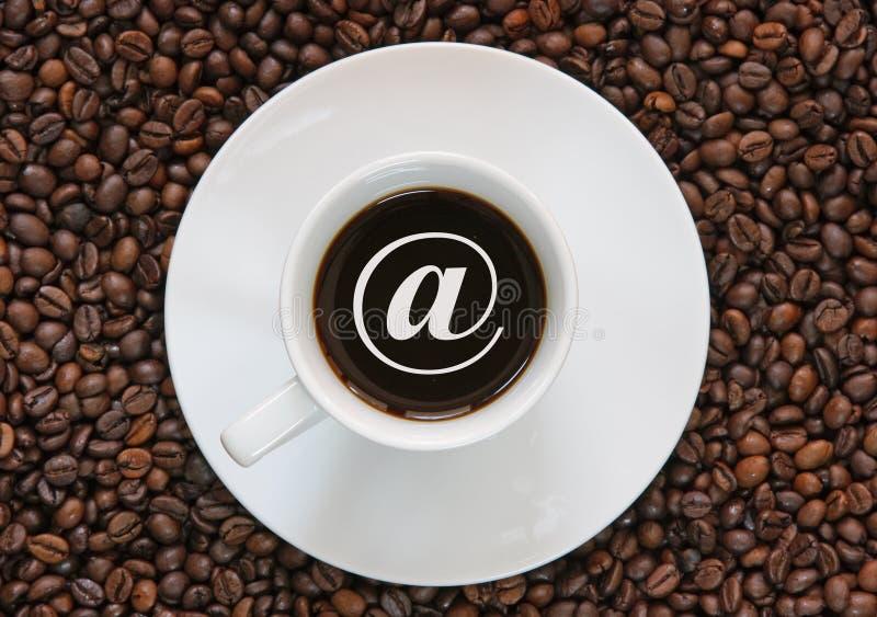 знак интернета кофе стоковые изображения