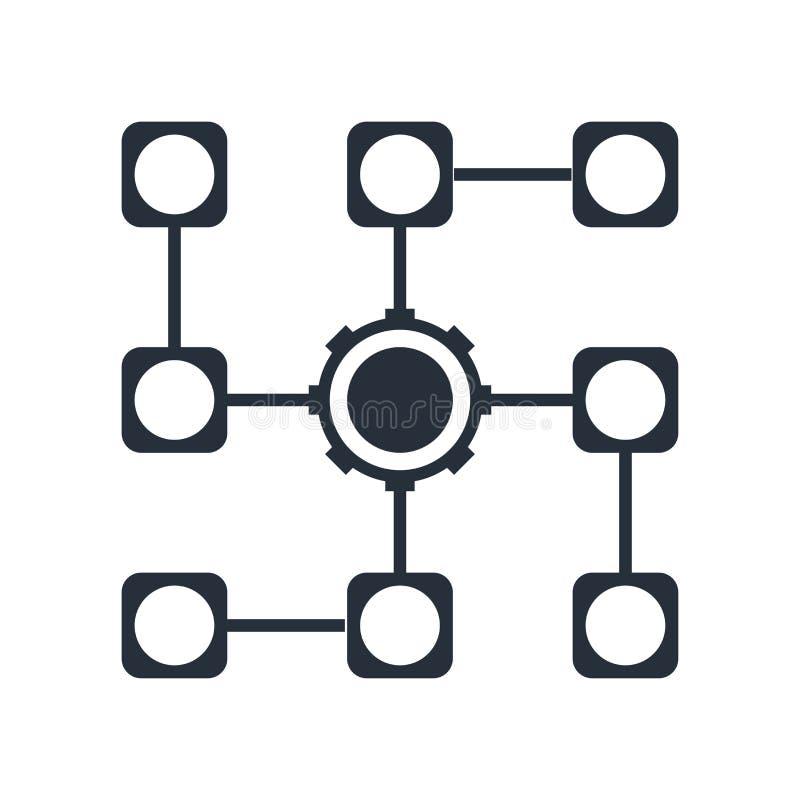 Знак и символ вектора значка алгоритма изолированные на белой предпосылке, концепции логотипа алгоритма иллюстрация вектора