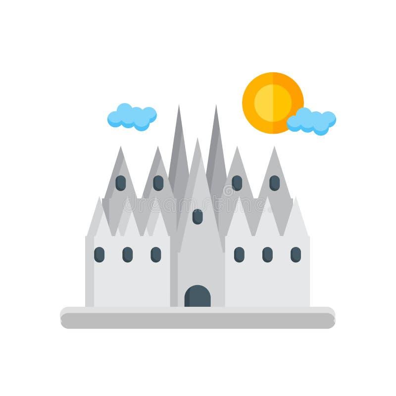 Знак и символ вектора значка Барселоны изолированные на белом backgrou иллюстрация вектора