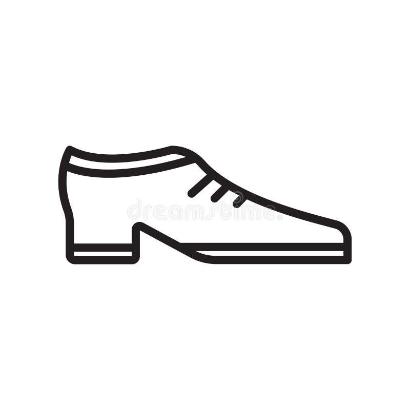 Знак и символ вектора значка ботинка изолированные на белой предпосылке, концепции логотипа ботинка иллюстрация вектора