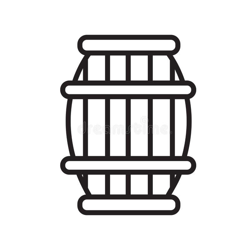 Знак и символ вектора значка бочонка изолированные на белой предпосылке, концепции логотипа бочонка, символе плана, линейном знак бесплатная иллюстрация