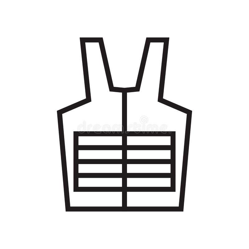 Знак и символ вектора значка бронежилета изолированные на белой предпосылке, концепции логотипа бронежилета иллюстрация штока
