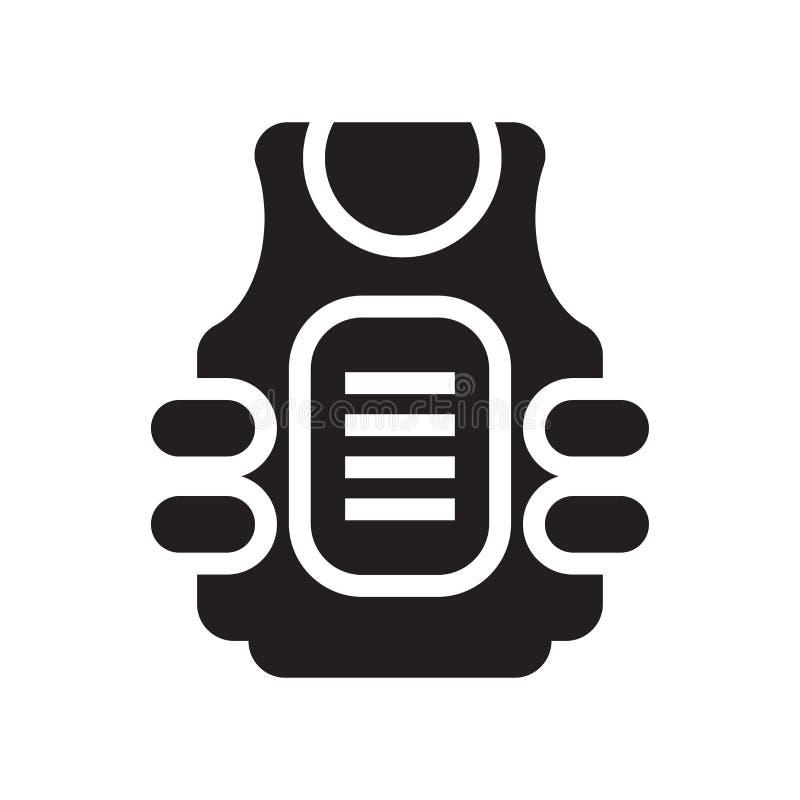 Знак и символ вектора значка бронежилета изолированные на белом b иллюстрация штока