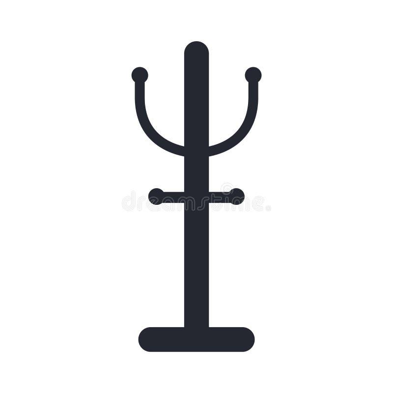 Знак и символ вектора значка вешалки изолированные на белой предпосылке иллюстрация штока