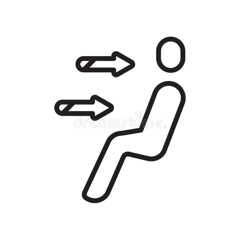 Знак и символ вектора значка выхода воздуха изолированные на белой предпосылке, концепции логотипа выхода воздуха бесплатная иллюстрация