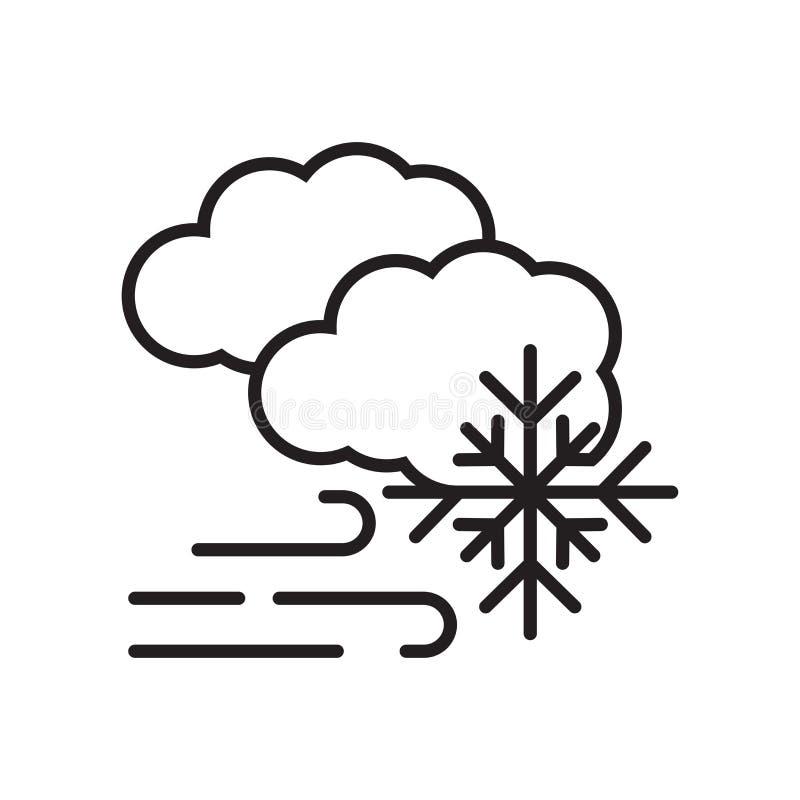 Знак и символ вектора значка вьюги изолированные на белом backgroun иллюстрация вектора