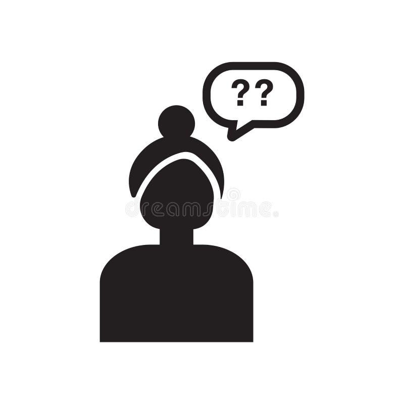 Знак и символ вектора значка девушки говоря изолированные на задней части белизны бесплатная иллюстрация