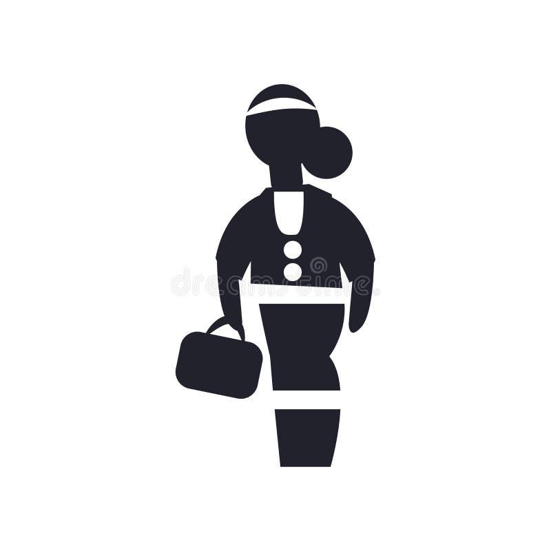 Знак и символ вектора значка девушки ученого передний изолированные на белой предпосылке, концепции логотипа девушки ученого пере бесплатная иллюстрация