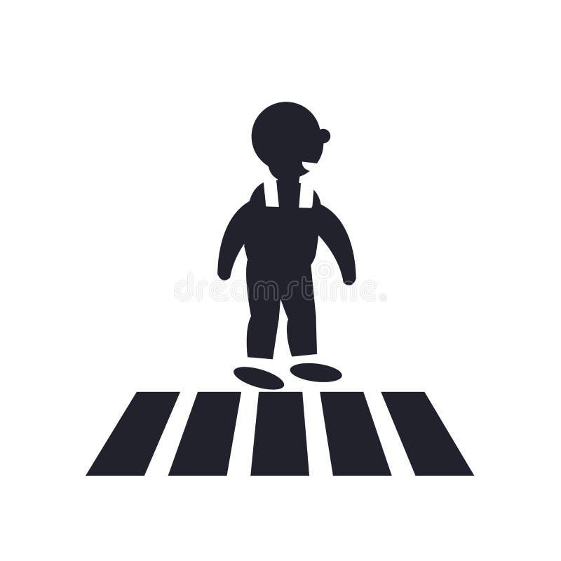 Знак и символ вектора значка дороги скрещивания изолированные на задней части белизны иллюстрация штока