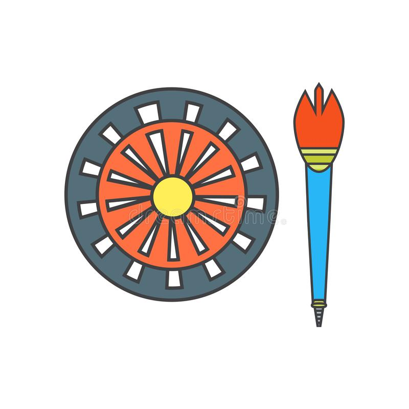 Знак и символ вектора значка доски дротика изолированные на белой предпосылке, концепции логотипа доски дротика иллюстрация вектора