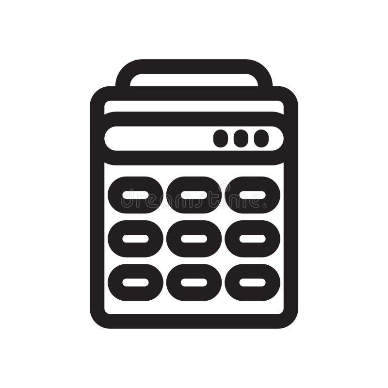 Знак и символ вектора значка инструмента математик калькулятора изолированные на белой предпосылке, концепции логотипа инструмент бесплатная иллюстрация