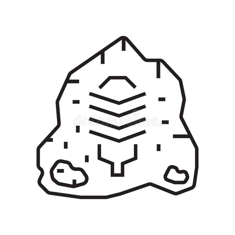 Знак и символ вектора значка искусства утеса изолированные на белом backgroun бесплатная иллюстрация