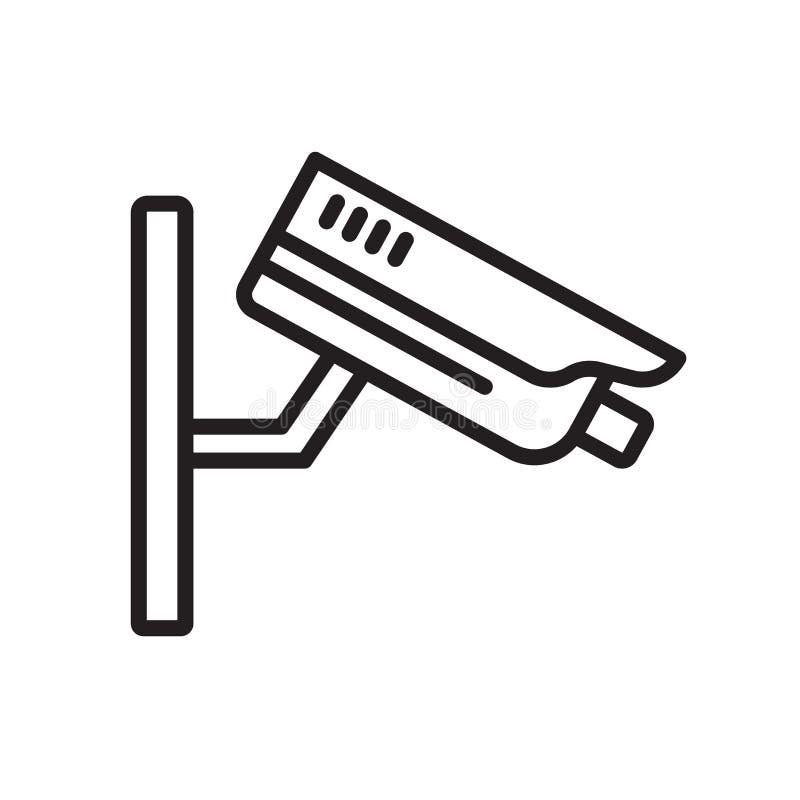 Знак и символ вектора значка камеры слежения изолированные на белом ба иллюстрация штока
