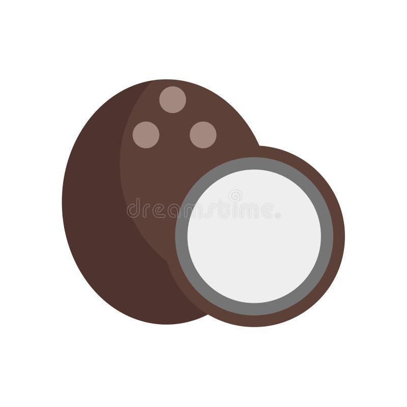 Знак и символ вектора значка кокоса изолированные на белой предпосылке иллюстрация вектора
