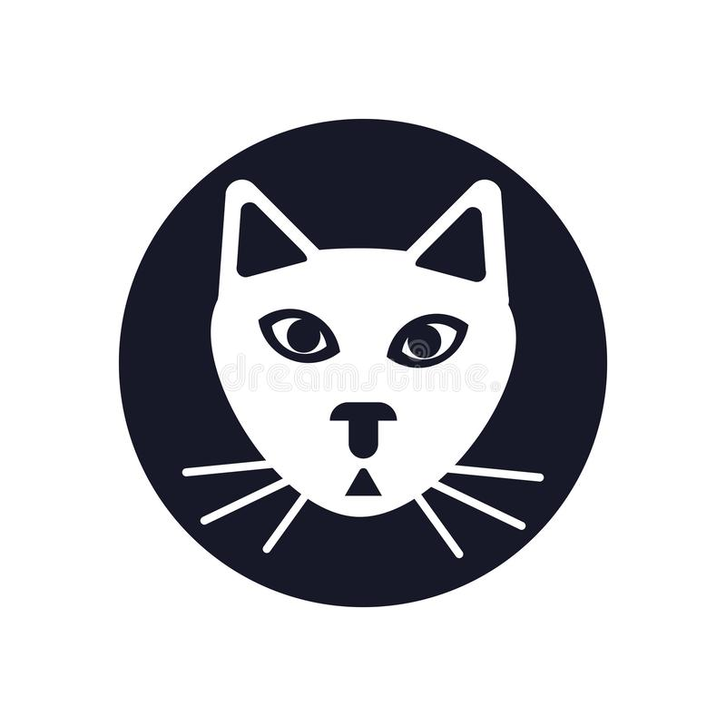 Знак и символ вектора значка кота изолированные на белой предпосылке, концепции логотипа кота стоковое фото rf
