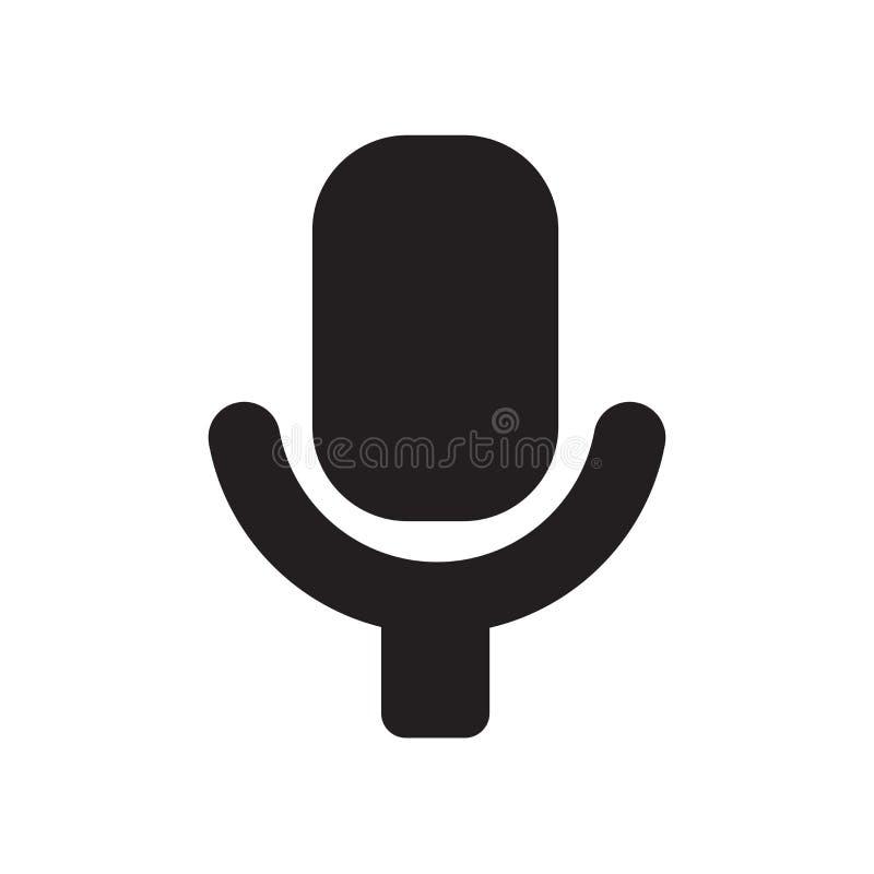 Знак и символ вектора значка микрофона изолированные на белой предпосылке, концепции логотипа микрофона иллюстрация вектора