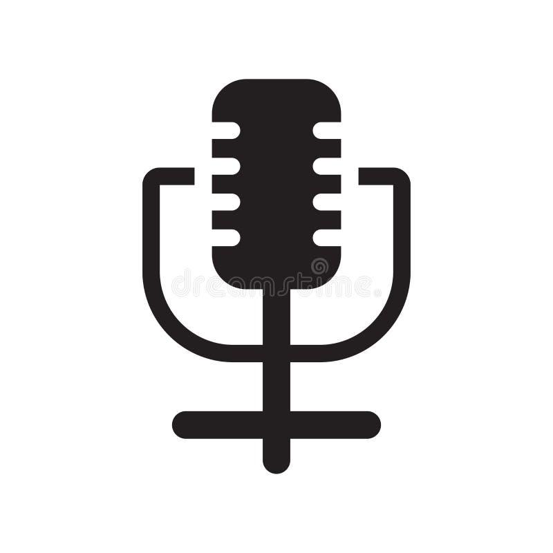 Знак и символ вектора значка микрофона изолированные на белом backgro бесплатная иллюстрация
