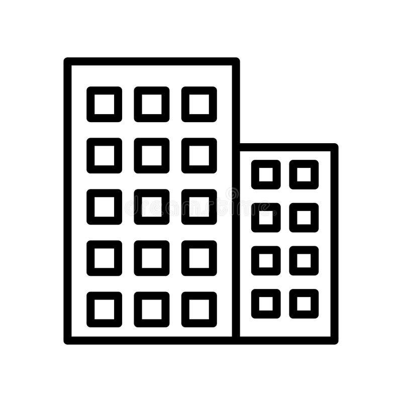 Знак и символ вектора значка офисного здания изолированные на белом ба бесплатная иллюстрация