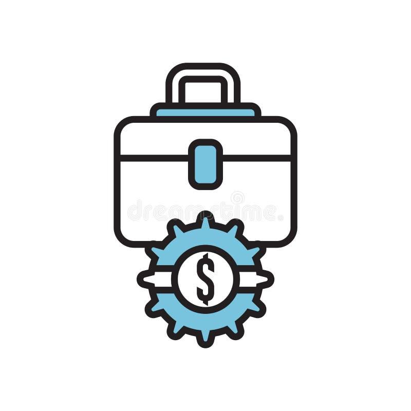 Знак и символ вектора значка портфеля изолированные на белой предпосылке, концепции логотипа портфеля иллюстрация штока
